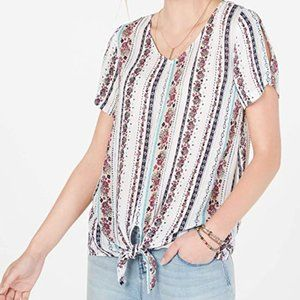 NWT Style & Co Knotted Split-Sleeve Top Size XS